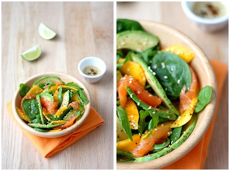 Salade à l'avocat et à la mangue
