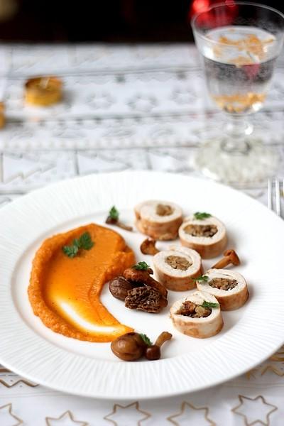Roulés de dinde aux champignons et marrons, purée de patate douce