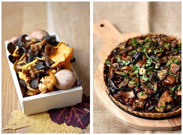 Tarte aux champignons et marrons