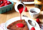 Fondant au chocolat et coulis de framboise