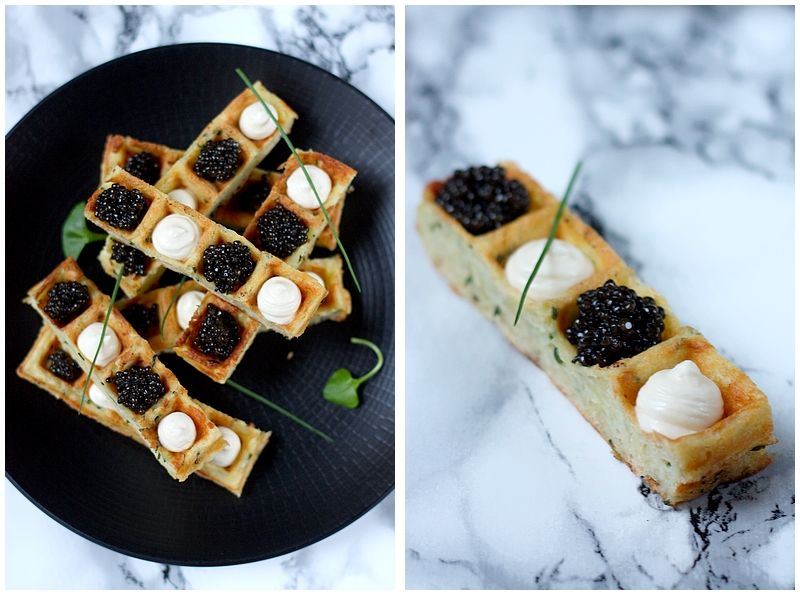 Fingers de gaufres à la ciboulette, caviar et crème