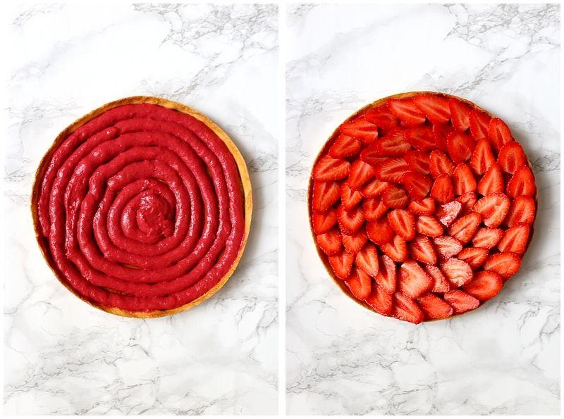 Tarte aux fraises et curd framboise