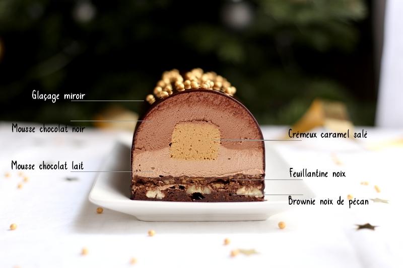 Bûche chocolat et caramel dulcey