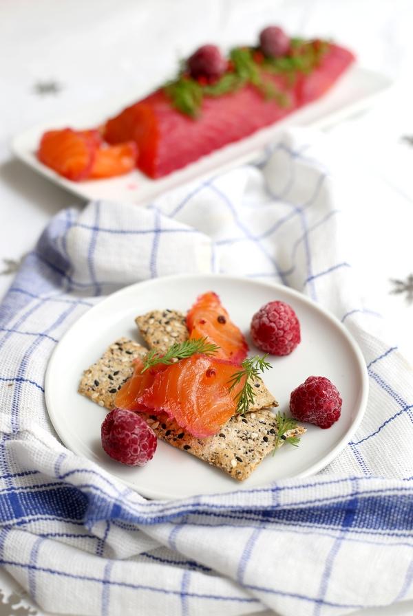 Recette de saumon gravlax à la framboise