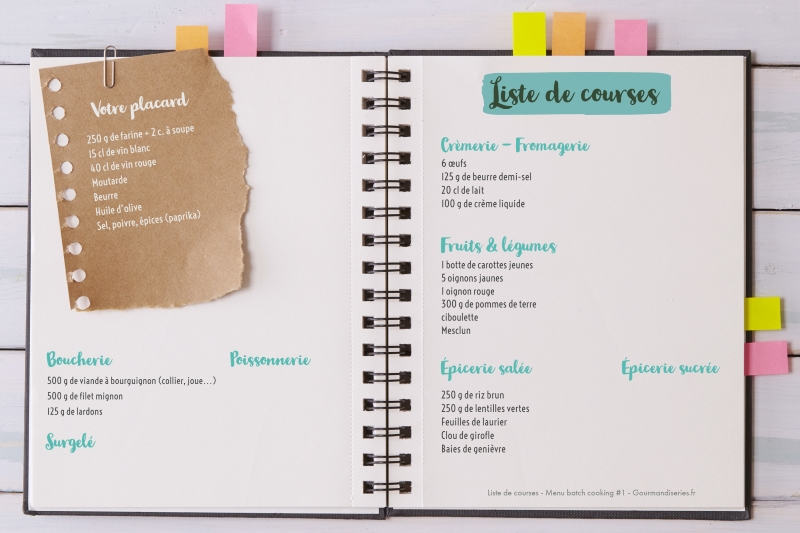Liste de courses pour batch cooking