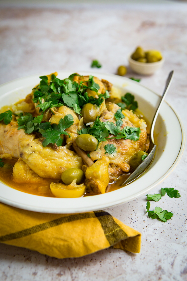 Recette de poulet au citron et aux olives